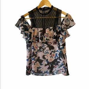 GUESS Silk High Neck Off The Shoulder Floral Top S